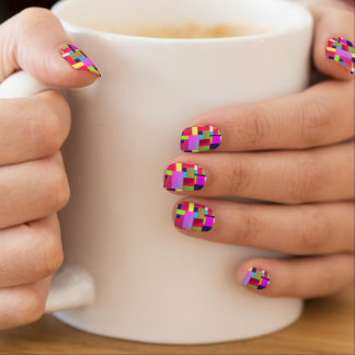Chic, multicolor bricks art, minx nail art