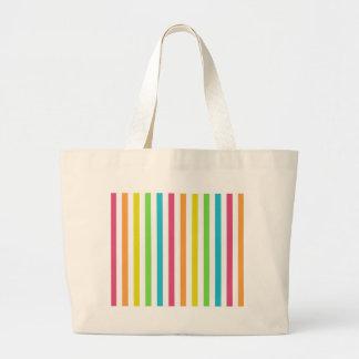 Chic Multicolored Stripes Canvas Bag
