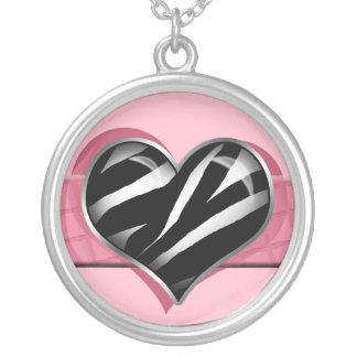 Chic My Heart Zebra Print Pink Necklace