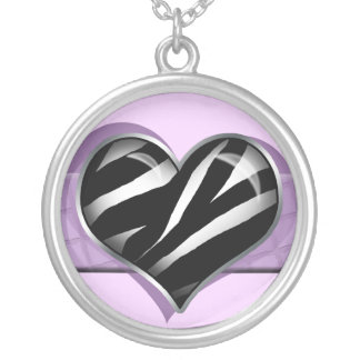 Chic My Heart Zebra Print Purple Necklace