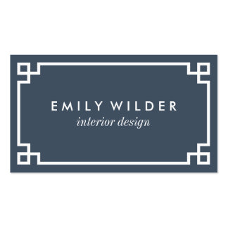 Chic Navy and White Greek Key Pack Of Standard Business Cards