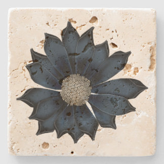 Chic Navy Blue Flower Stone Coaster