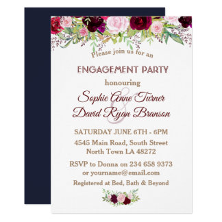 Chic Navy Blue Marsala Floral Engagement Party Card
