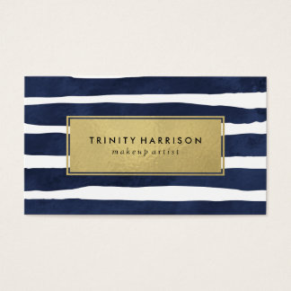 Chic Navy Blue Stripes | Glam Faux Gold Foil Business Card