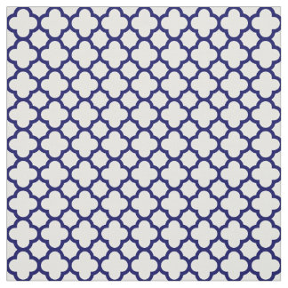 Chic Navy Blue White Classic Quatrefoil Pattern Fabric