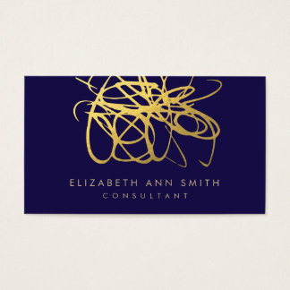Chic Navy Gold Business Card