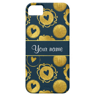 Chic Navy Hearts Gold Circles iPhone 5 Cover