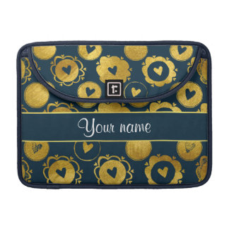 Chic Navy Hearts Gold Circles Sleeves For MacBook Pro