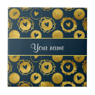 Chic Navy Hearts Gold Circles Small Square Tile