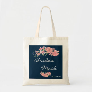 Chic navy pink peonies wedding bridesmaid tote bag
