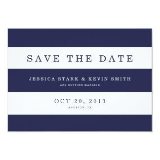 Chic Navy Stripes Save the Date Card