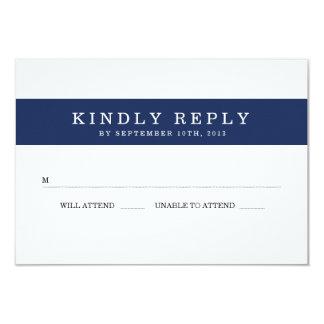 Chic Navy Stripes Wedding RSVP 9 Cm X 13 Cm Invitation Card