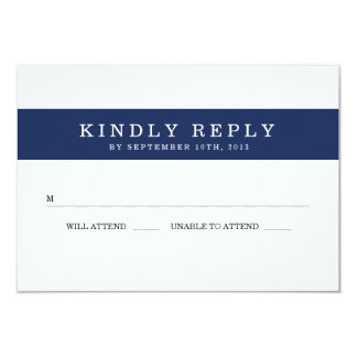 Chic Navy Stripes Wedding RSVP Card