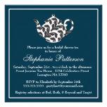 Chic Navy & White w Damask Bridal Shower Tea Party Custom Invite