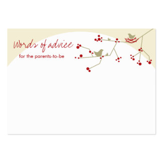 Chic Nesting Bird + Family Baby Shower Advice Card Business Card