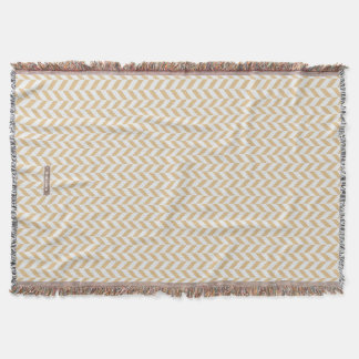 Chic neutral gold white geometric zigzag pattern throw blanket