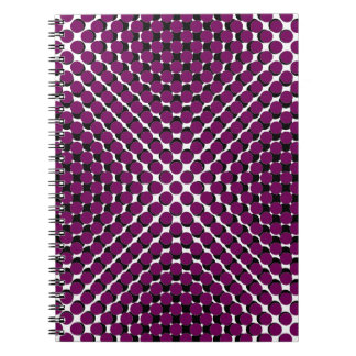CHIC NOTEBOOK-COOL GRAPE ON BLACK DOTS ON WHITE SPIRAL NOTEBOOK