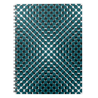 CHIC NOTEBOOK-COOL TEAL ON BLACK DOTS ON WHITE SPIRAL NOTEBOOK