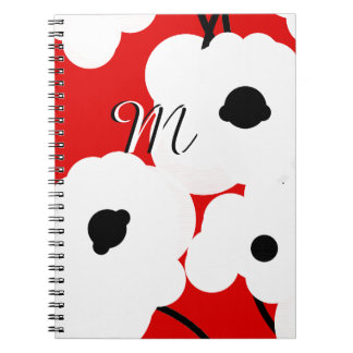 CHIC NOTEBOOK_ MOD WHITE & BLACK POPPIES NOTEBOOK