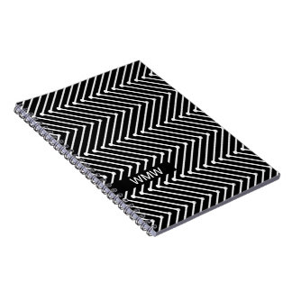 CHIC NOTEBOOK- MODERN WHITE/BLACK ZIGZAG SPIRAL NOTEBOOK