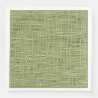 Chic Olive Green Faux Jute Weave Fabric Pattern Paper Napkins
