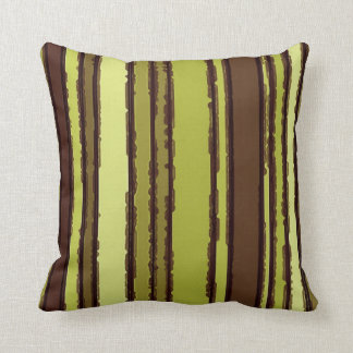 Chic Olive Lime Green Cute Retro Stripes Pattern Cushions