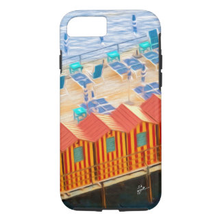 Chic Orange and Blue Cabanas Beach Style iPhone 8/7 Case