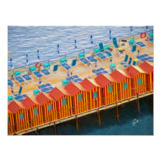 Chic Orange and Blue Cabanas Beach Style Poster