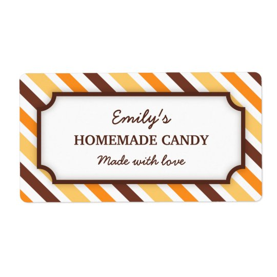 Chic orange and brown stripes canning jar labels