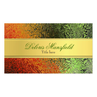 Chic Orange and Green Foil Look Business Card