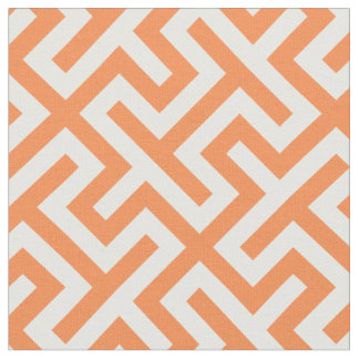 Chic orange and white abstract geometric pattern fabric