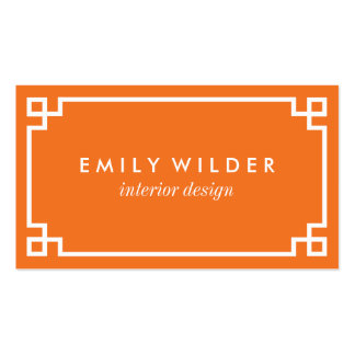 Chic Orange and White Greek Key Pack Of Standard Business Cards