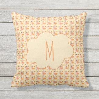 Chic Orange Bird Pattern Monogram Outdoor Pillow