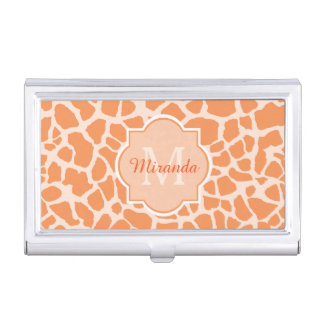 Chic Orange Giraffe Print With Monogram and Name Business Card Holder