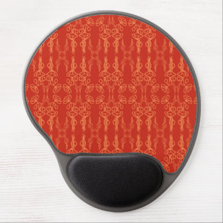 Chic Orange on Red Poppy Outline Gel Mousepad