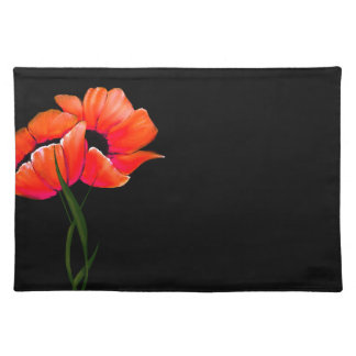 Chic Orange Poppies on Black Place Mat