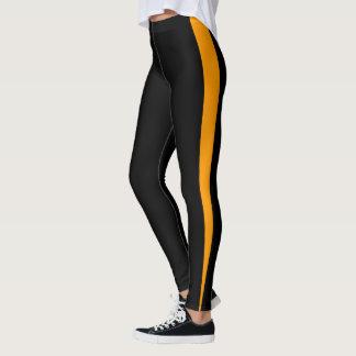 Chic Orange Stripe Design Leggings
