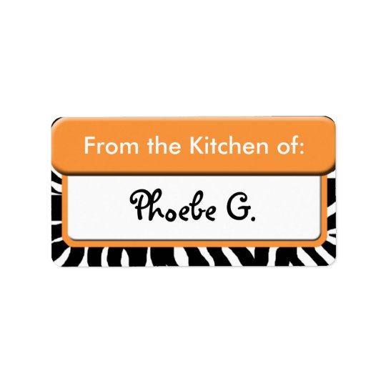 "Chic Orange Zebra Print ""From the Kitchen"" Labels"