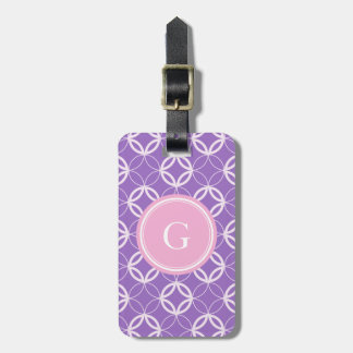 Chic orchid Moroccan circle pattern monogram Luggage Tag
