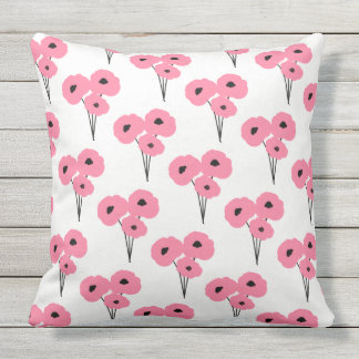 CHIC OUTDOOR PILLOW_MOD PINK & BLACK POPPIES OUTDOOR CUSHION