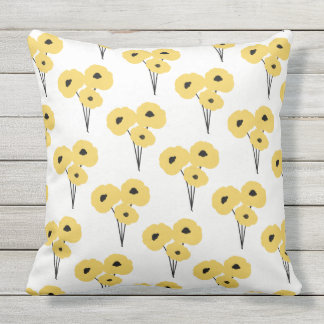 CHIC OUTDOOR PILLOW_MOD YELLOW & BLACK POPPIES OUTDOOR CUSHION