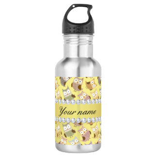 Chic Owls Faux Gold Foil Bling Diamonds 532 Ml Water Bottle