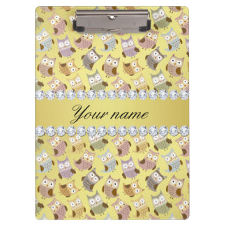 Chic Owls Faux Gold Foil Bling Diamonds Clipboards