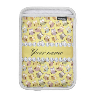 Chic Owls Faux Gold Foil Bling Diamonds iPad Mini Sleeve