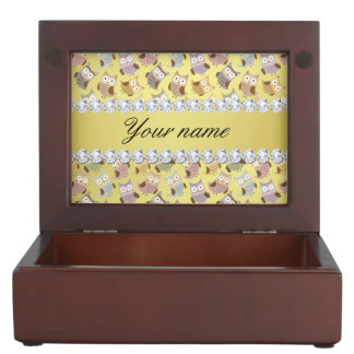 Chic Owls Faux Gold Foil Bling Diamonds Keepsake Box