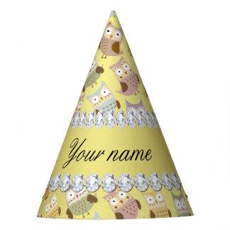 Chic Owls Faux Gold Foil Bling Diamonds Party Hat