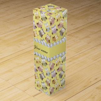 Chic Owls Faux Gold Foil Bling Diamonds Wine Box