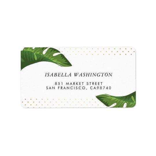 Chic Palm Leaves Tropical Wedding Address Label