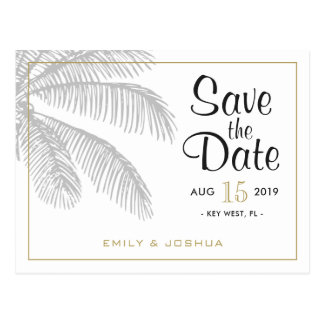 Chic Palm Tree & Gold Save the Date Postcard