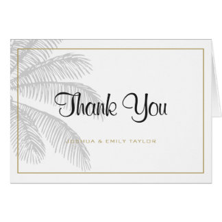 Chic Palm Tree & Gold Wedding Thank You Card